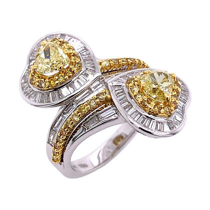 1.41ct GIA Certified Yellow Diamond Ring in 18K White/Yellow Gold
