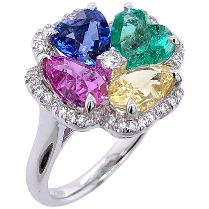 Multi Unheated Sapphire Emerald Heart Ring in 18K White Gold