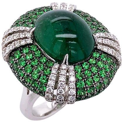 7.83ct Cabochon Emerald Green Garnet Diamond Ring in 18K White Gold