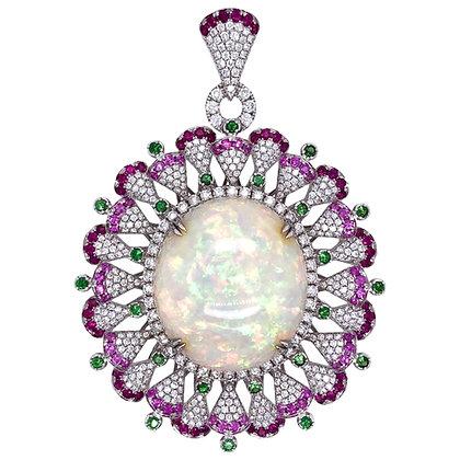 73.60ct Opal Tsavorite Ruby Sapphire Diamond Pendant in 18K White Gold