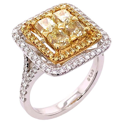Fancy Yellow Diamond Cluster Ring in 18K White/Yellow Gold