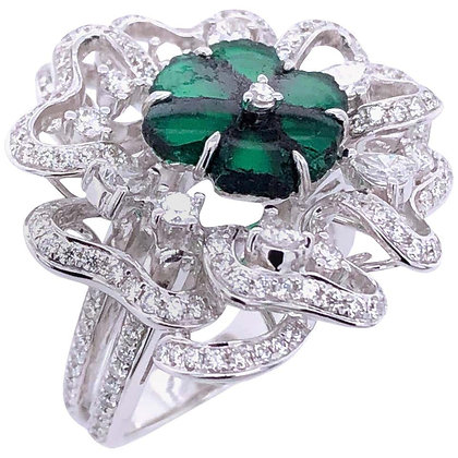1.87ct Rough-Cut Emerald Diamond Flower Cocktail Ring in 18K White Gold