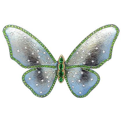 Tsavorite Diamond Butterfly Brooch in Titanium