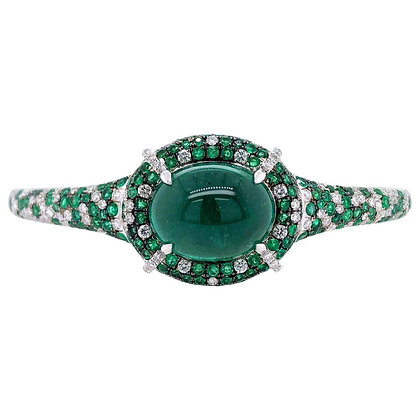 12.97ct Cabochon Emerald Diamond Bangle in 18K White Gold