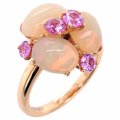 3.28ct Opal Ring with Pink Sapphire in 18K Rose Gold