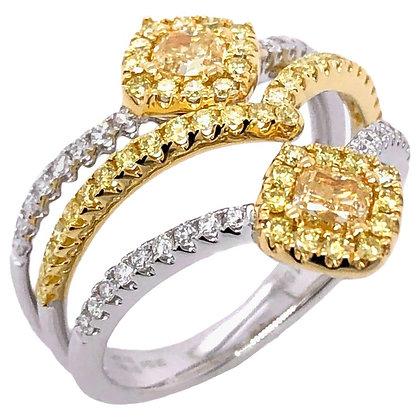 0.52ct Yellow Diamond Ring with Diamonds in 18K White/Yellow Gold