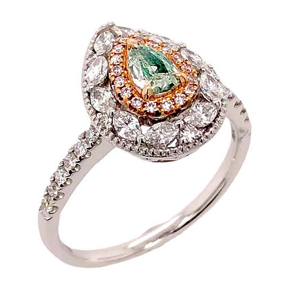 0.20ct Fancy Green Diamond Ring with Pink Diamonds in 18K White Gold