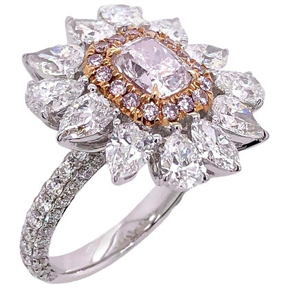 1.00ct GIA Certified Pink Diamond Ring with Pear-cut Diamonds in 18K White Gold