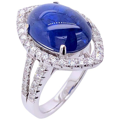 8.63ct GRS Certified Burma Unheated Cabochon Sapphire Ring with Diamonds