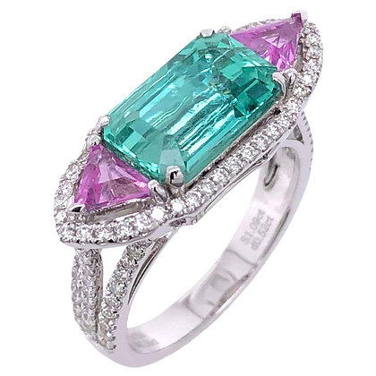 3.24ct GRS Certified Un-oiled Emerald Pink Sapphire Ring with Diamonds