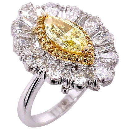 1.51ct GIA Certified Yellow Diamond Cocktail Ring/Pendant