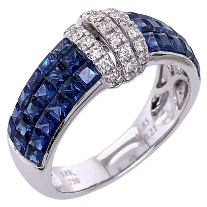 1.85ct Invisible Sapphire Diamond Ring in 18K White Gold