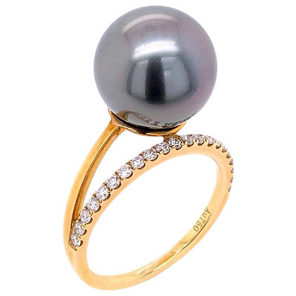 12mm Tahitian Pearl Ring with Diamonds in 18K Yellow Gold