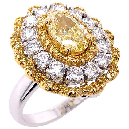 1.32ct Fancy Yellow Diamond Cocktail Ring/Pendant in 18K White/Yellow Gold