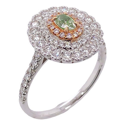0.21ct Green Diamond Cocktail Ring in 18K White Gold