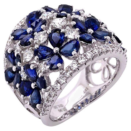 5.90ct Pear-cut Sapphire Ring with Diamonds in 18K White Gold