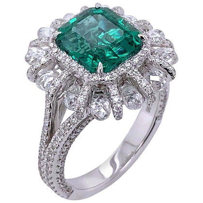 2.98ct Emerald Ring with Diamonds in 18K White Gold