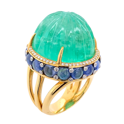 48.00ct GRS Certified Colombia Emerald Ring with Cabochon Sapphires and Diamonds