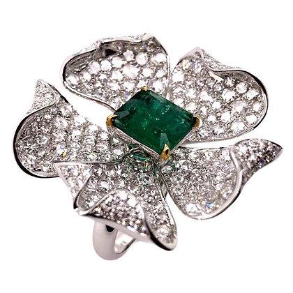 2.37ct Emerald Diamond Flower Ring in 18K White Gold