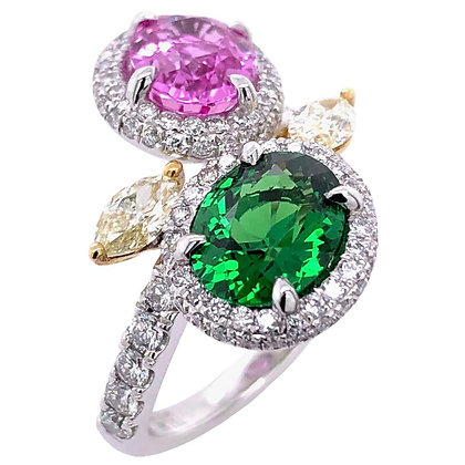 2.02ct Pink Sapphire 1.66ct Green Garnet Diamond Ring in Platinum
