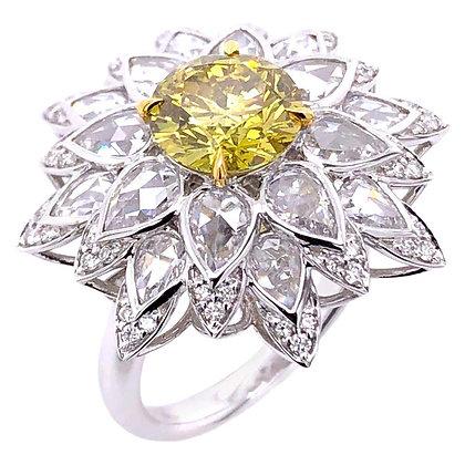 1.75ct GIA Certified Fancy Deep Yellow Diamond Ring/Pendant with Diamonds