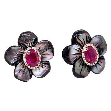 Mother of Pearl Ruby Diamond Stud Earrings in 18K Rose Gold