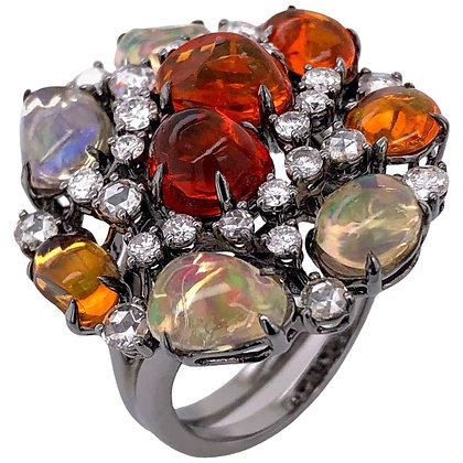 Cabochon Fire Opal Ring with Diamonds in Rhodium