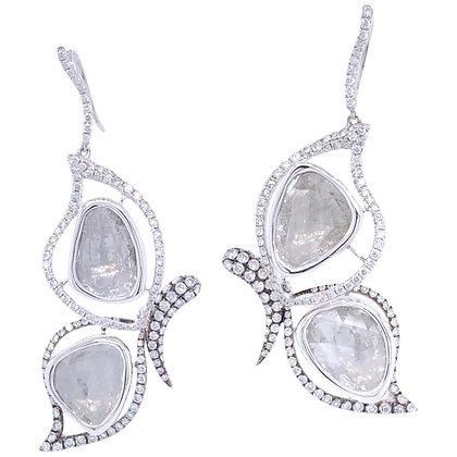 4.29ct Rough-cut Diamond Butterfly Earrings in 18K White Gold
