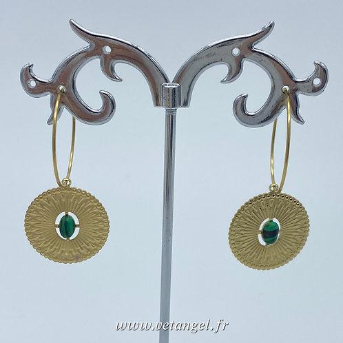 Boucle d'oreilles créoles en acier forme ronde verte: malachite