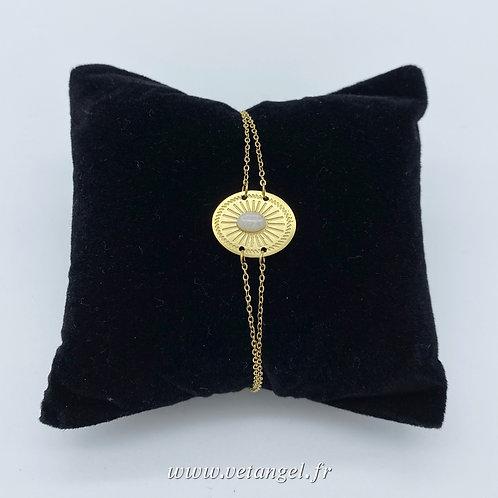 Bracelet en acier inoxydable ovale avec pierre naturelle howlite blanche