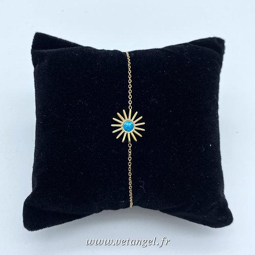 Bracelet en acier inoxydable forme soleil pierre naturelle