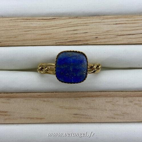 Bague en acier inoxydable carré avec pierre naturelle lapiz lazuli