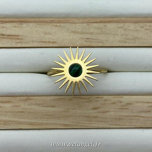 Bague en acier inoxydable forme soleil pierre naturelle