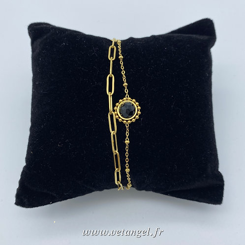 Bracelet en acier inoxydable 2 rangs onyx