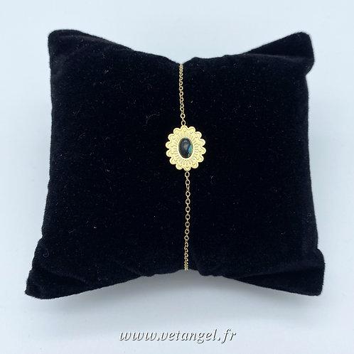 Bracelet en acier inoxydable forme fleur turquoise/noir