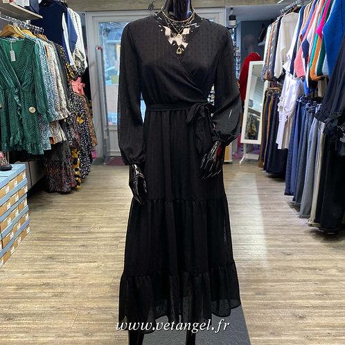 Robe cache-cœur Charlène noire