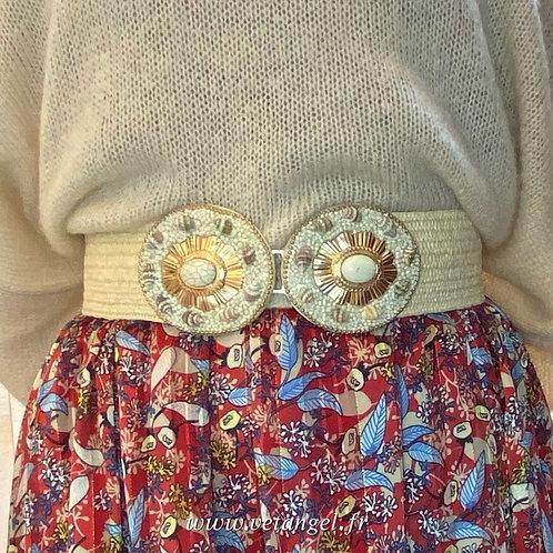 Ceinture élastiquée double boucles   accessoire femme