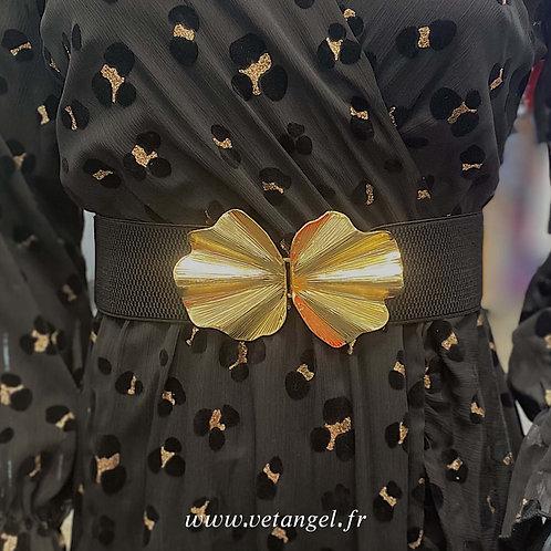 Ceinture élastiquée noire boucle dorée coquillage