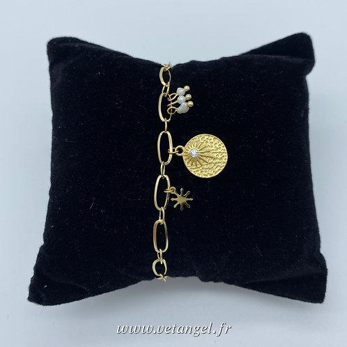 Bracelet en acier inoxydable médaille et pampilles