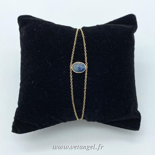 Bracelet en acier inoxydable pierre naturelle  lapiz lazuli