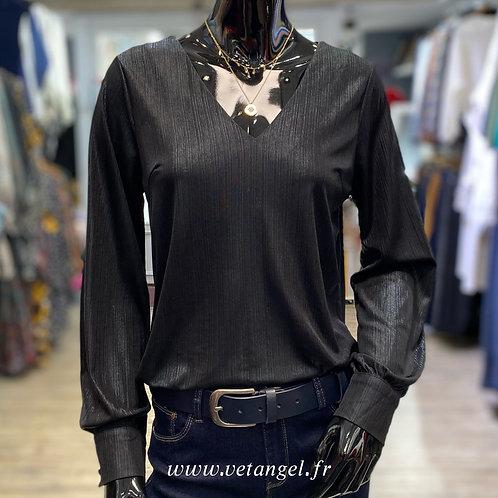 Blouse Astrid noir argenté