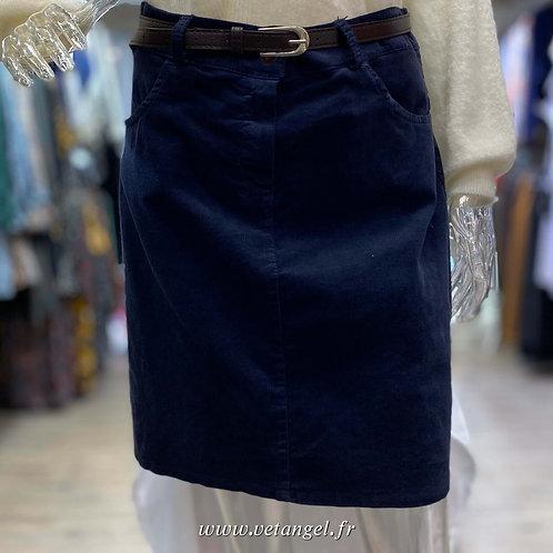 Jupe velours Jude bleu marine
