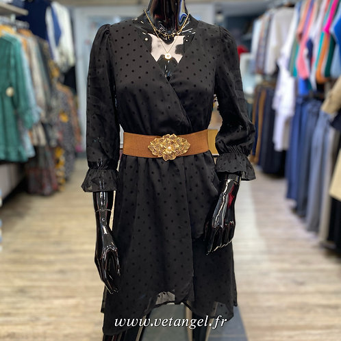 Robe Léa noire à pois