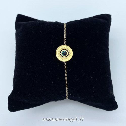 Bracelet en acier inoxydable rond pierre naturelle turquoise reconstitué/noir