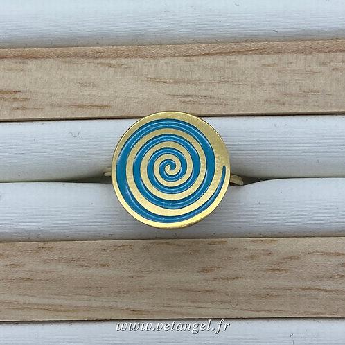 Bague en acier inoxydable forme ronde émaillée turquoise