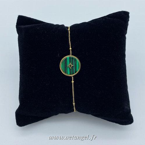 Bracelet en acier inoxydable pierre naturelle