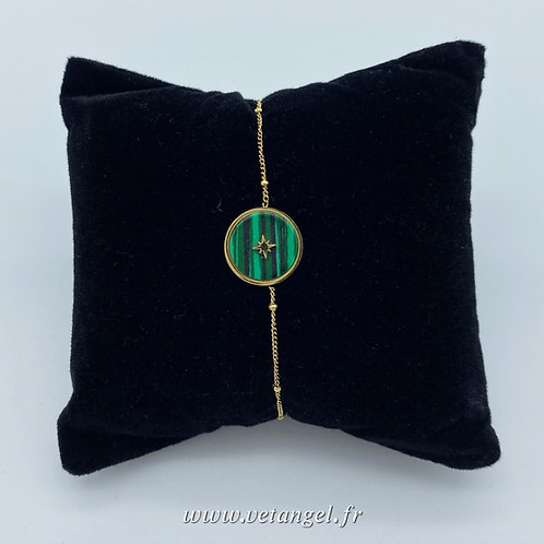 Bracelet en acier inoxydable pierre naturelle malachite