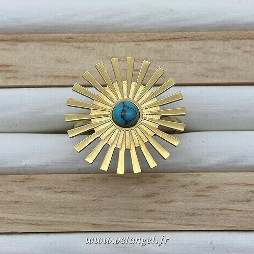 Bague en acier inoxydable forme soleil pierre naturelle turquoise reconstitué