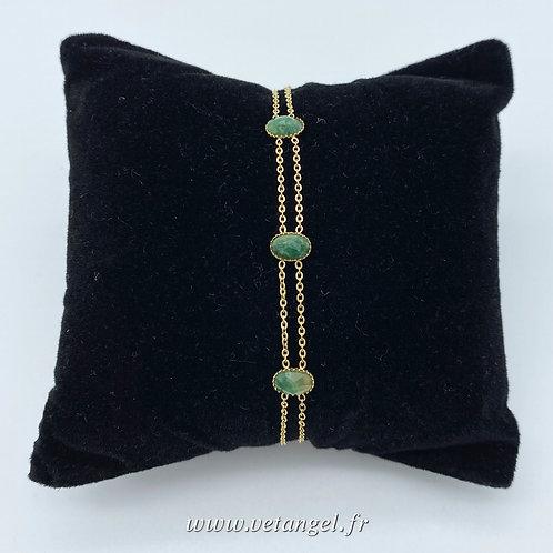 Bracelet en acier inoxydable triple pierre naturelle unakite