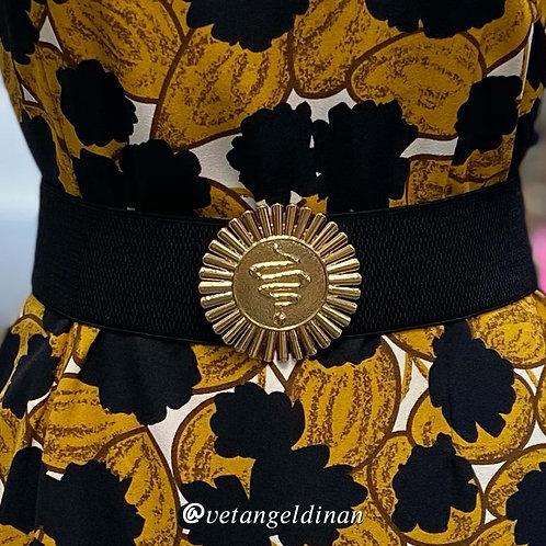 Ceinture élastiquée noire boucle dorée serpent